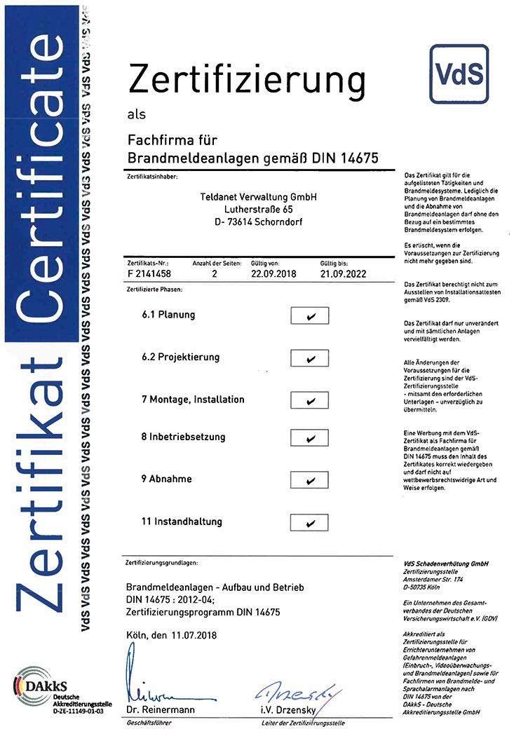 Teldanet GmbH:Unternehmen Zertifikat DIN 14675 BMA