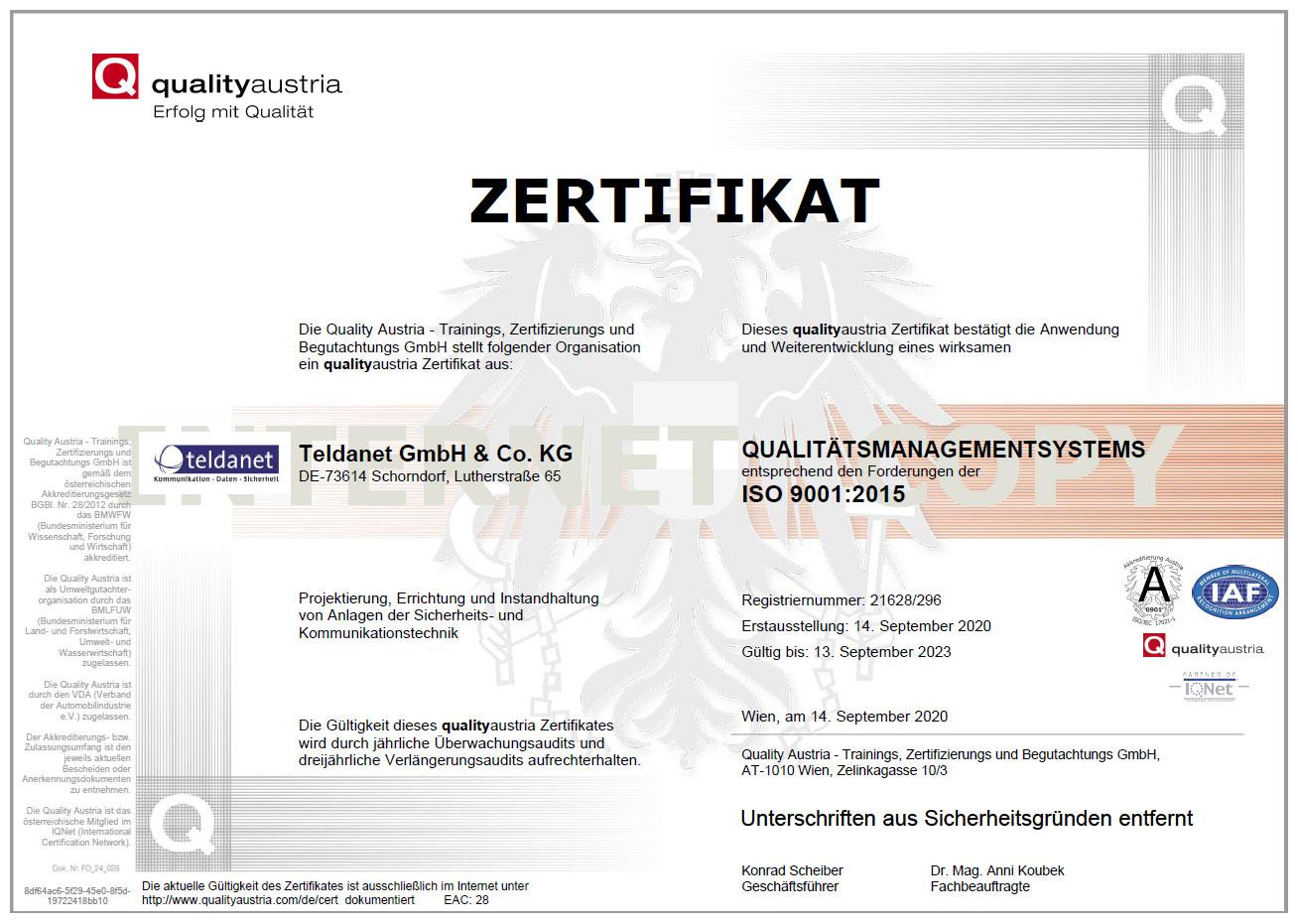 Teldanet GmbH: Unternehmen Zertifikat ISO 9001:2015